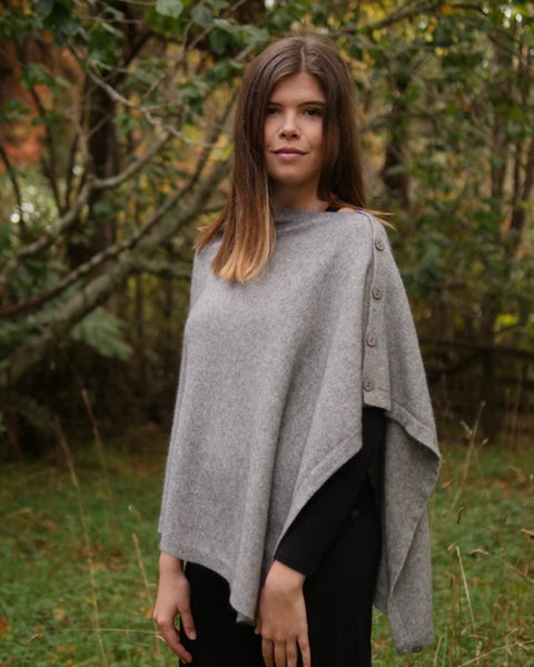 The Fantail House, Native World, Made in New Zealand, Possum Merino, Anyway Wrap, Womens, Silver