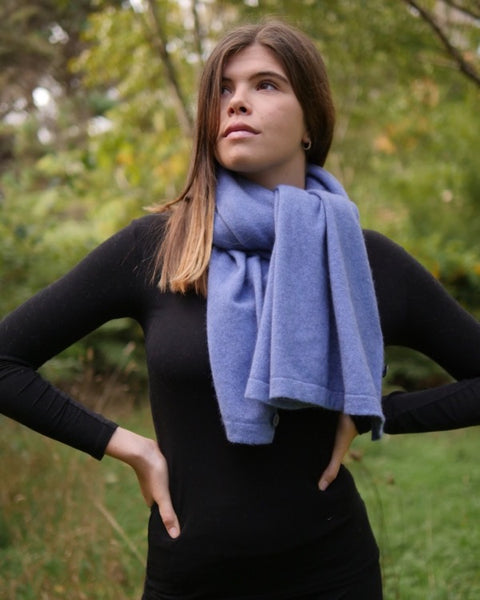 The Fantail House, Native World, Made in New Zealand, Possum Merino, Anyway Wrap, Womens, Bluebell