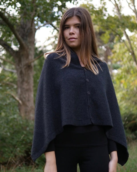 The Fantail House, Native World, Made in New Zealand, Possum Merino, Anyway Wrap, Womens,  Charcoal