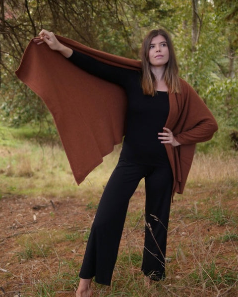 The Fantail House, Native World, Made in New Zealand, Possum Merino, Travel Wrap, Jasper