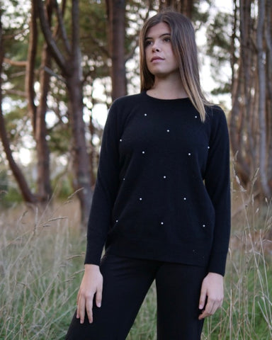 The Fantail House, Made in New Zealand, Native World, Possum Merino, Night Sky Sweater, Black