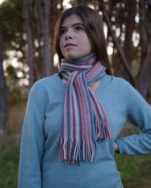 The Fantail House, Native World, Made in New Zealand, Possum Merino, Multi Striped Scarf, Orchid