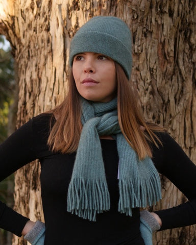 The Fantail House, Native World, Made in New Zealand, Possum Merino, Plain Beanie, Topaz,