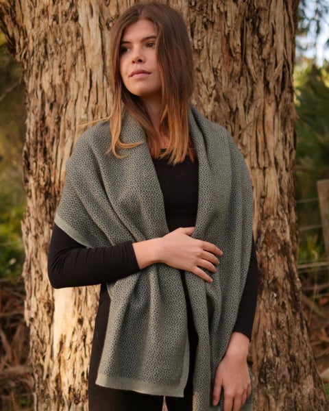 The Fantail House, Native World, Made in New Zealand, Possum Merino, , Womens, Seafoam
