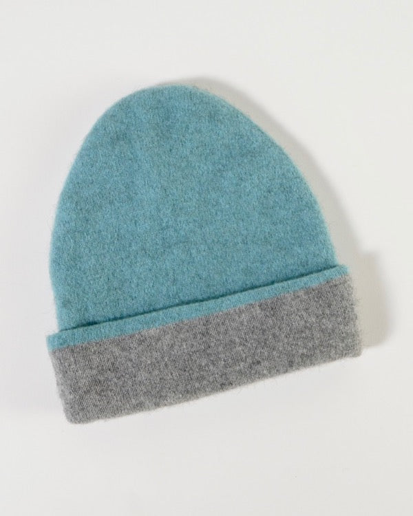 The Fantail House, Made in New Zealand,  Native World, Possum Merino, Reversible Beanie, Topaz