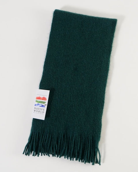 The Fantail House, Native World, Made in New Zealand, Possum Merino, Plain Scarf, Jade