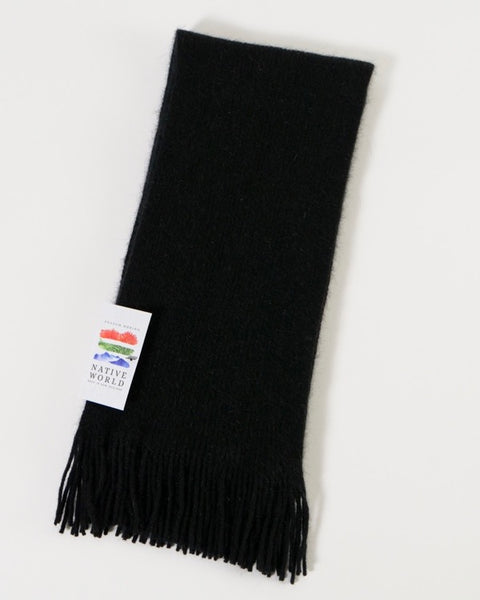 The Fantail House, Native World, Made in New Zealand, Possum Merino, Plain Scarf, Black