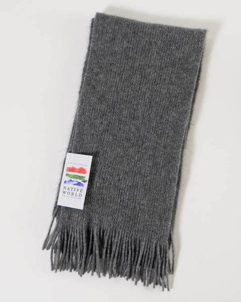 The Fantail House, Native World, Made in New Zealand, Possum Merino, Plain Scarf, Silver