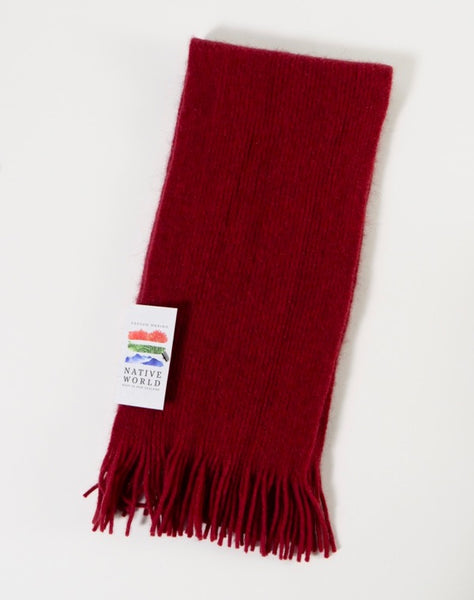 The Fantail House, Native World, Made in New Zealand, Possum Merino, Plain Scarf, Berry