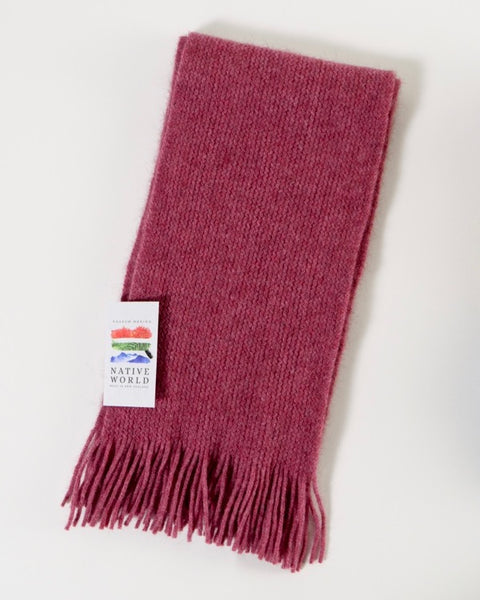 The Fantail House, Native World, Made in New Zealand, Possum Merino, Plain Scarf, Raspberry