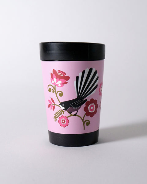 The Fantail House, NZ Made, Cuppacoffeecup, Takeout Cup, Reusable Cup, Pink Fantail