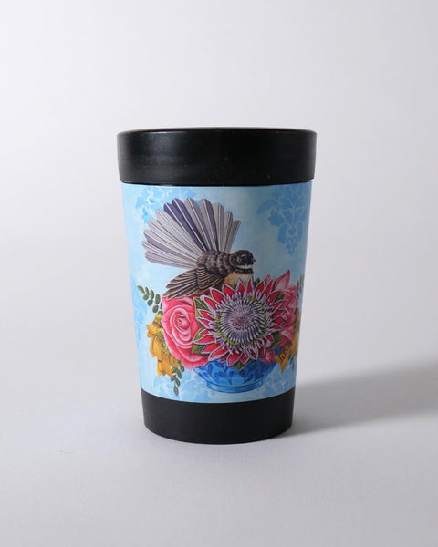 The Fantail House, NZ Made, Cuppacoffeecup, Takeout Cup, Reusable Cup, Floral Fantail