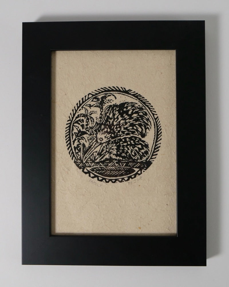The Fantail House, Made in New Zealand, Woodcut Print, Framed, Kiwi