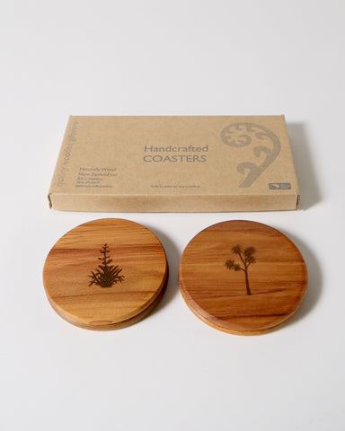 The Fantail House, NZ Made, Rimu Coasters, Cabbage Tree, Flax