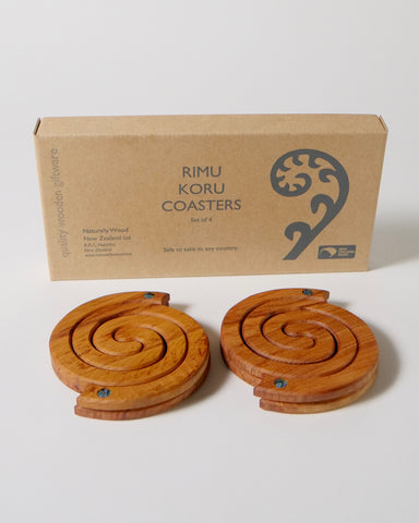 The Fantail House, NZ Made, Rimu Koru Coasters