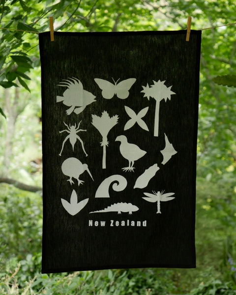 The Fantail House, Made in NZ, Tea Towels, Cotton, Black