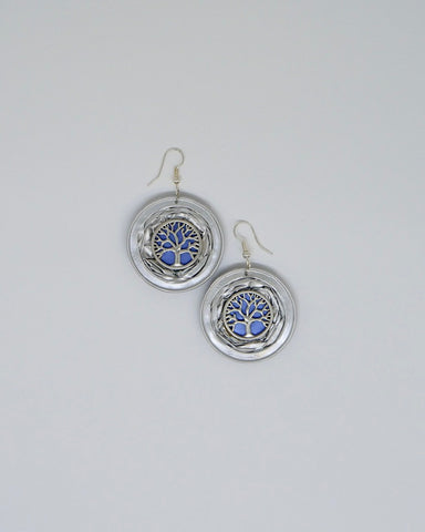 Upcycled Coffee Pod Jewellery - Tree of Life - Earrings Blue