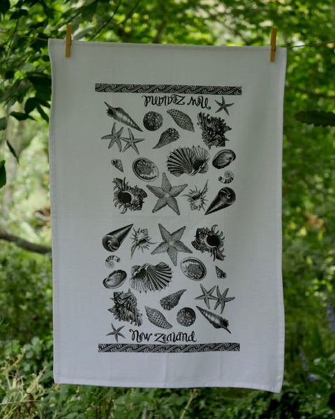 The Fantail House, Made in NZ, Tea Towels, Cotton, NZ Seashore