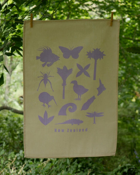The Fantail House, Made in NZ, Tea Towels, Cotton, Mauve