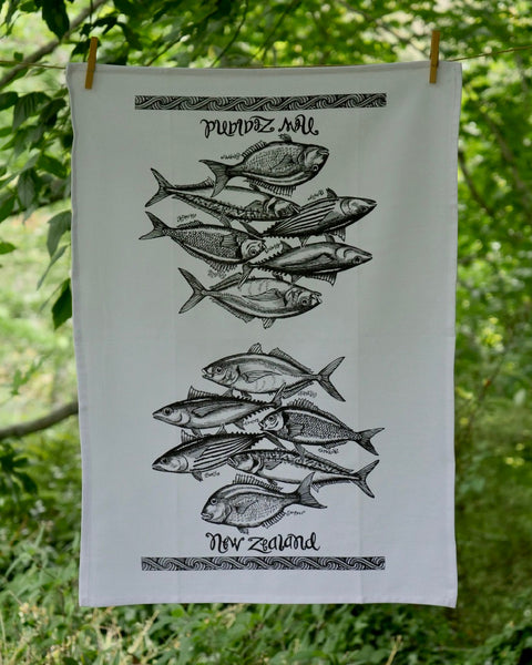 The Fantail House, Made in NZ, Tea Towels, Cotton,  Fish of NZ