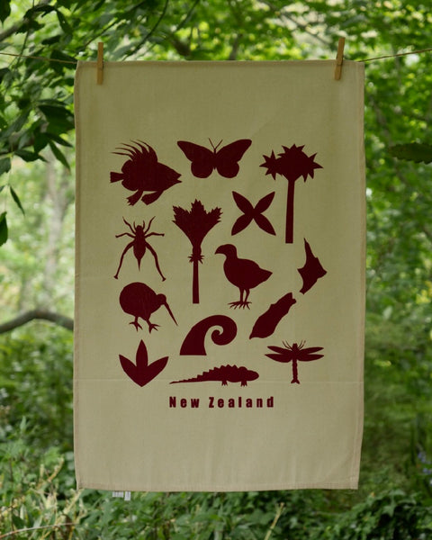 The Fantail House, Made in NZ, Tea Towels, Cotton, Burgandy