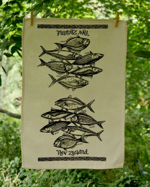 The Fantail House, Made in NZ, Tea Towels, Cotton,  Fish