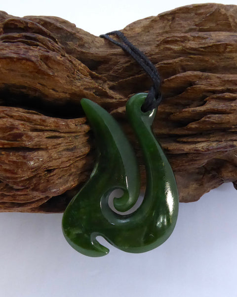 The Fantail House, New Zealand Made, Greenstone, Pounamu, Jade, Fish Hook, Handcrafted