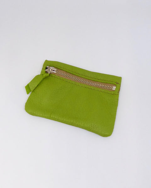 The Fantail House, New Zealand Made, Deerskin Leather Purse. Four Peaks, Eve Wallace, Lime