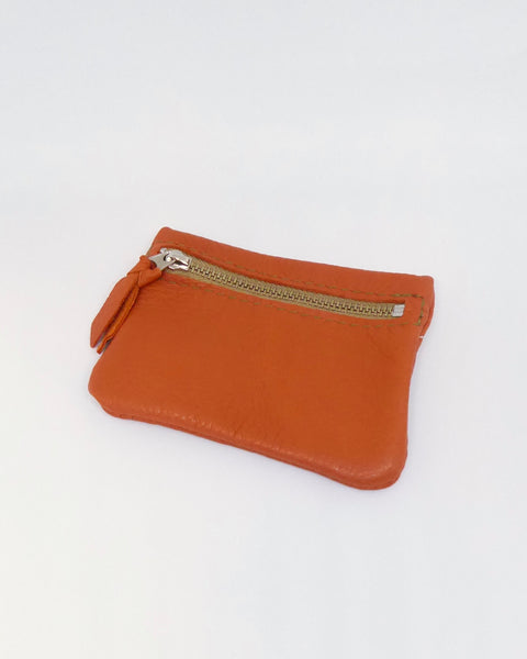 The Fantail House, New Zealand Made, Deerskin Leather Purse. Four Peaks, Eve Wallace, Orange