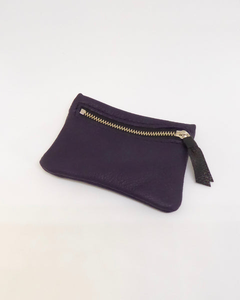 The Fantail House, New Zealand Made, Deerskin Leather Purse. Four Peaks, Eve Wallace, Purple