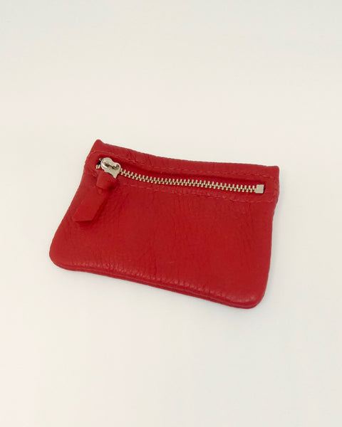 The Fantail House, New Zealand Made, Deerskin Leather Purse. Four Peaks, Eve Wallace, Red