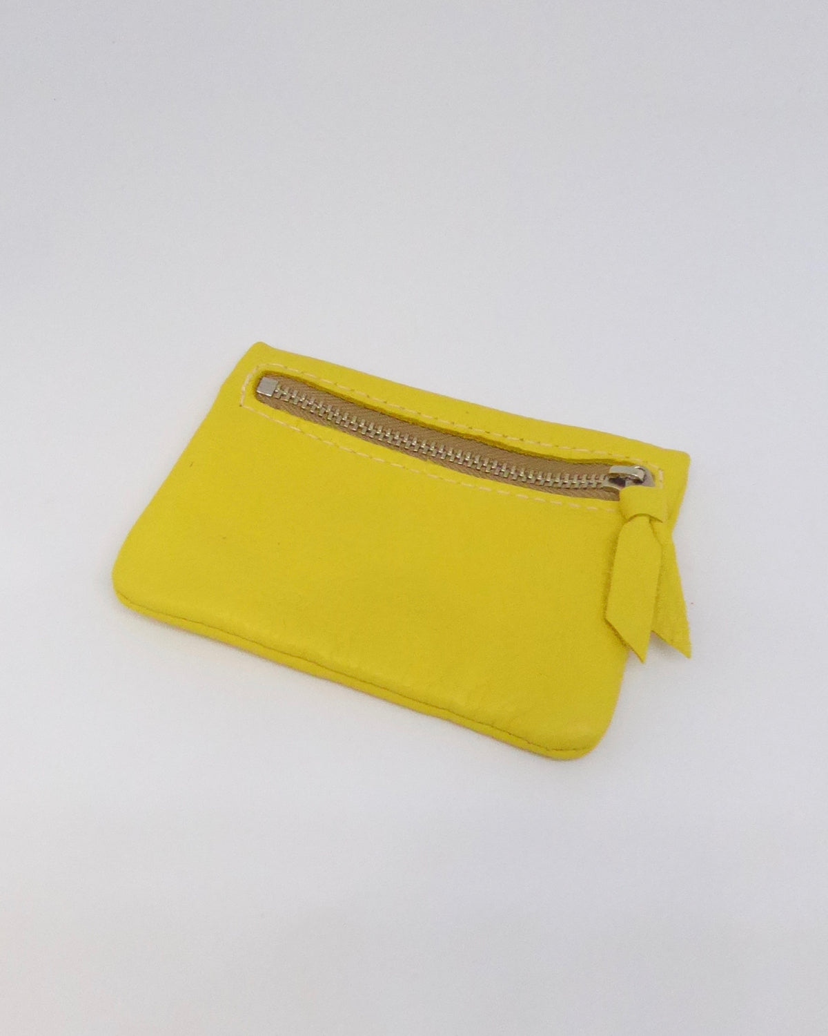 The Fantail House, New Zealand Made, Deerskin Leather Purse. Four Peaks, Eve Wallace, Yellow