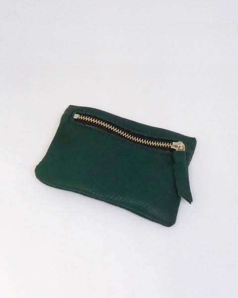 The Fantail House, New Zealand Made, Deerskin Leather Purse. Four Peaks, Eve Wallace, Dark Green