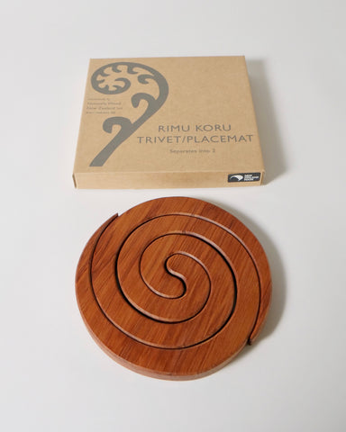 The Fantail House, Made in New Zealand, Rimu Trivet/Placemat, Koru