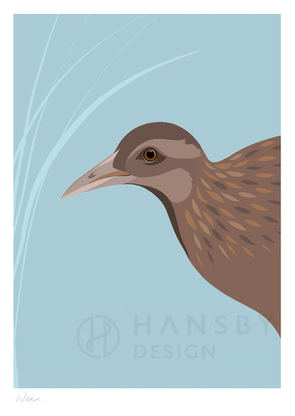 The Fantail House, New Zealand Made, Cathy Hansby, Art Prints, New Zealand Native Birds, Weka