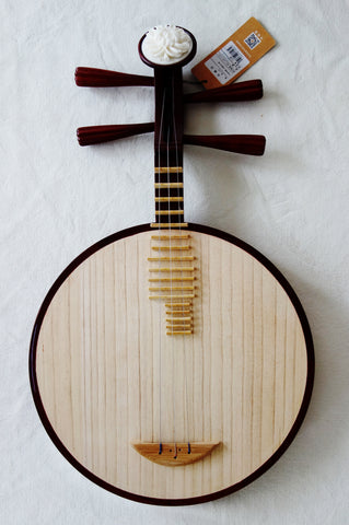 Yueqin (Chinese moon lute) by Yuehai, Professional Rosewood,4-stringed 乐海制专业花梨木月琴,4弦,骨花头