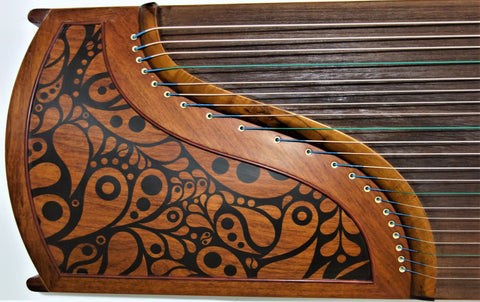 "Guzheng. Full-sized 64"". Yellow Sandalwood. Concert Grade. Free setup & tuned古筝 乐海制 奥氏黄檀(酸枝木)"