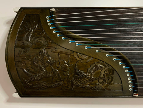 "Guzheng (Koto, Gayagum) Full-sized 64"". Professional Grade. Dragon Carving, Free setup & tuned 古筝 楠木雕龙"