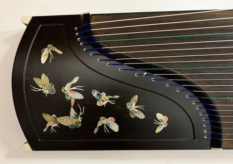 "Guzheng, Full-sized 64"". Ebony, Seashell Inlay, Professional Grade. Free setup & tuned 古筝 专业 黑檀贝雕"