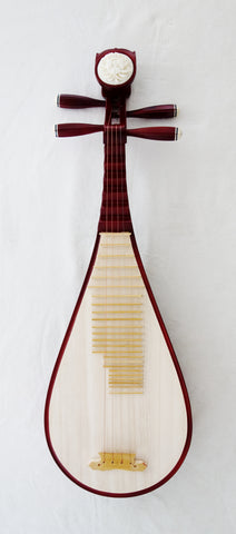 Pipa, 3/4 size (for kids), Hardwood, Bone Flower Head (Chinese lute, Biwa) 儿童琵琶, 硬木,骨花头