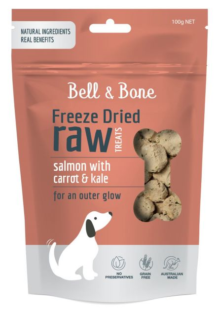 Bell and Bone Freeze Dried Raw Dog Treats: Salmon with Carrot and Kale 100g