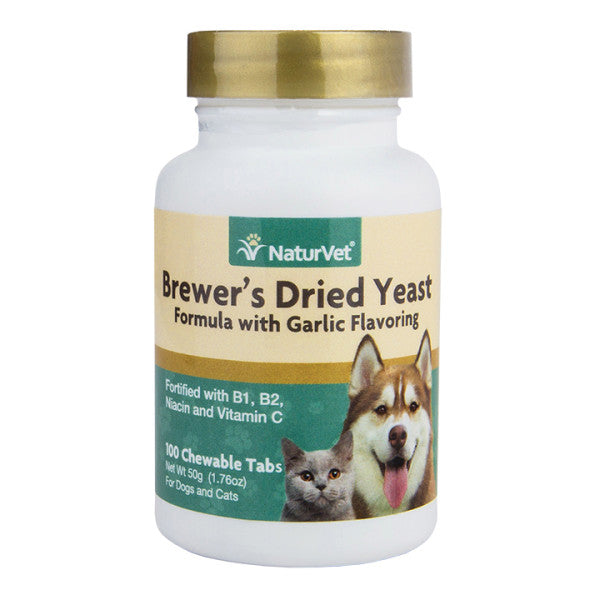 NaturVet - BrewerÕs Dried Yeast With Garlic Chewable Tablets (Plus Vitamins) for Dogs & Cats
