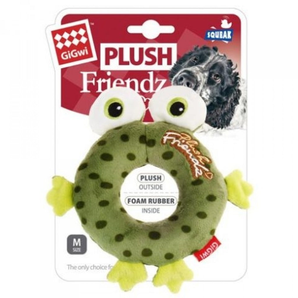 PLUSH FRIENDZ With Foam Rubber Ring and Squeaker - Frog