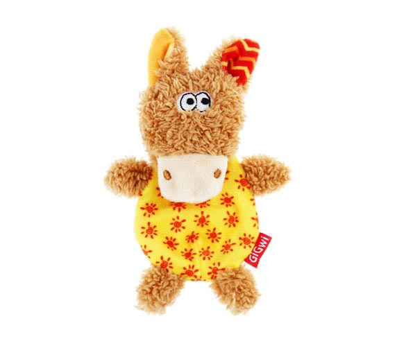 """PLUSH FRIENDZ"" BROWN/YELLOW WITH REFILLABLE SQUEAKER DONKEY"