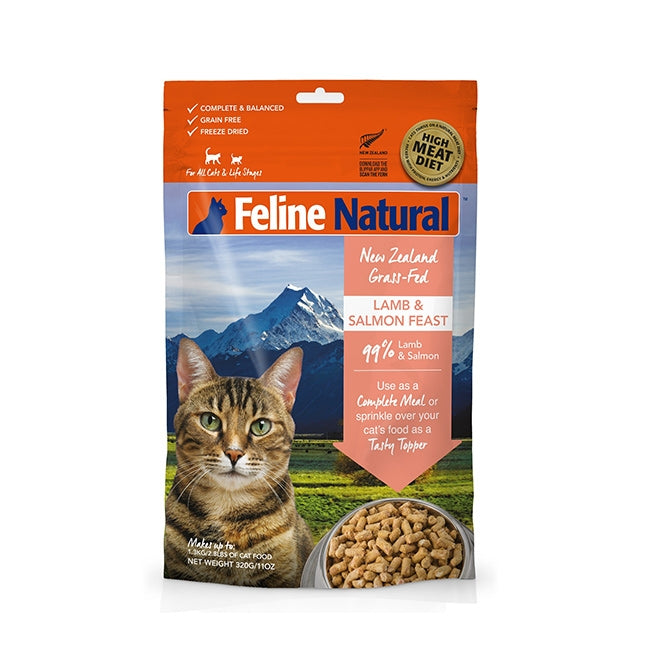 Feline Natural Freeze Dried Cat food - Lamb and Salmon Feast 320g