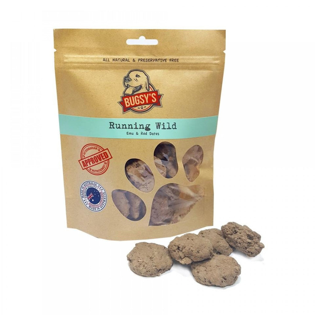 Bugsy's Dog Treats - Running Wild: Emu and Red Dates 70g