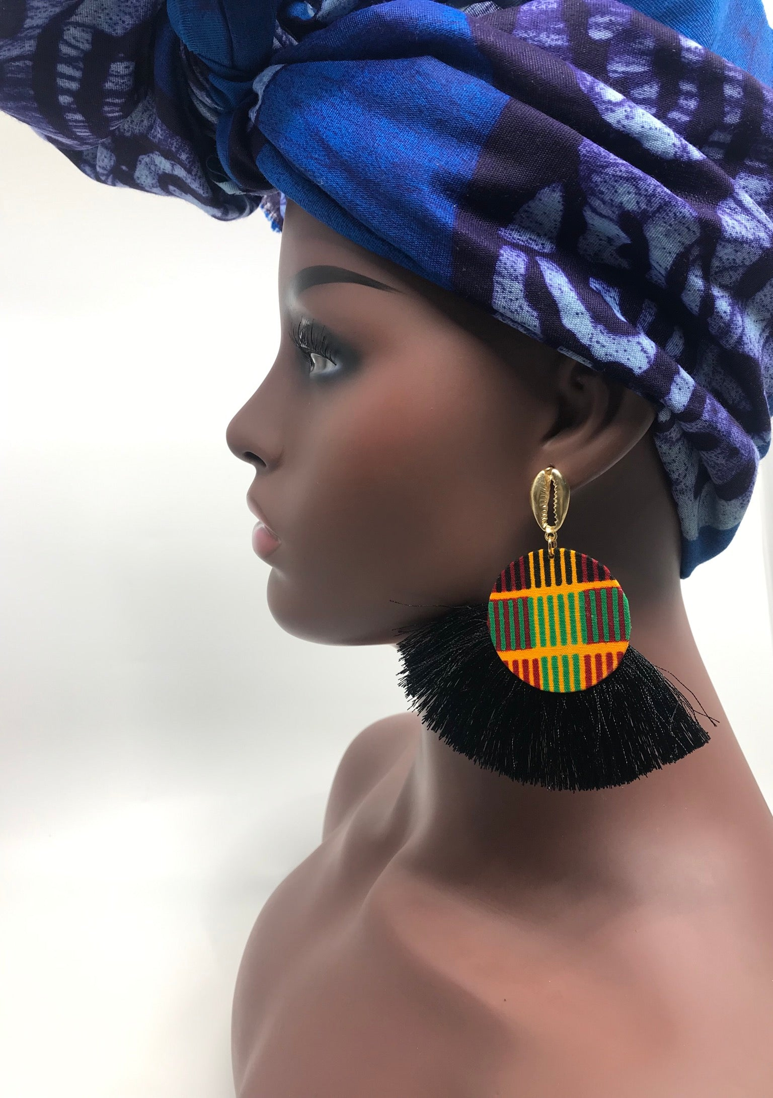 Ankara fringe earrings