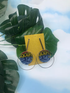 Ankara dangle circle earrings