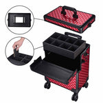 Masslux 2020 Rich Red 2In1 Rolling Makeup Case Cosmetic Trolley - byootique-global.com