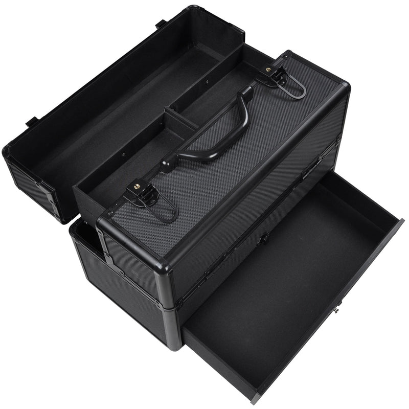 Essential Cosmetic Train Case w/ Drawer 4-Tray Makeup Travel Box - byootique-global.com